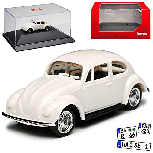 pe Weiss mit Sockel und Vitrine Bausatz Kit H0 1/87 Herpa Modell Auto mit individiuellem Wunschkennzeichen ()