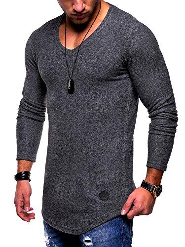 MT Styles Herren V-Pullover Oversize Basic Feinstrick Hoodie MT-7313 [Dunkelgrau, XL] (Basic Feinstrick)