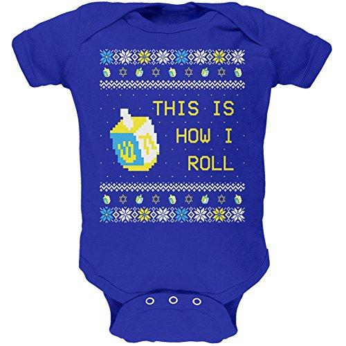 Chanukka ist wie ich Roll Dreidel hässlich Weihnachten Pullover weich Baby ein Stück Royal 9-12 M