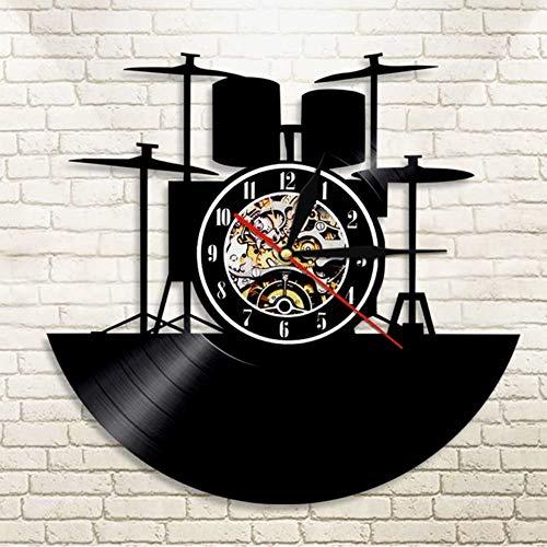 Guokee 1 Piece Drum Kit Vinyl Uhr Wanduhr Trommel Licht Rolle Vintage Moderne Wohnkultur Handgemachtes Geschenk Für Musikliebhaber 12Inch