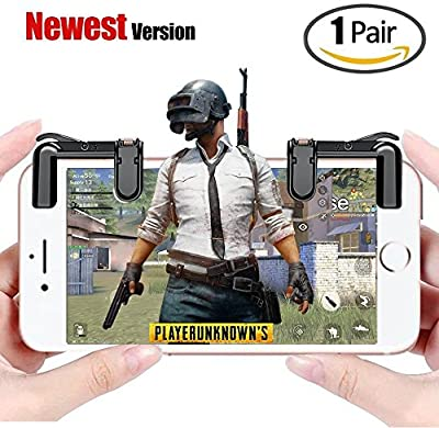 Mobile Game Controller PUBG, LANYI Sensitive Shoot and Aim Buttons L1R1 for Knives Out/PUBG/Rules of Survival, 1 Pair Survival Game Controller for 4.5-6.5inch Android IOS Phone(Black)