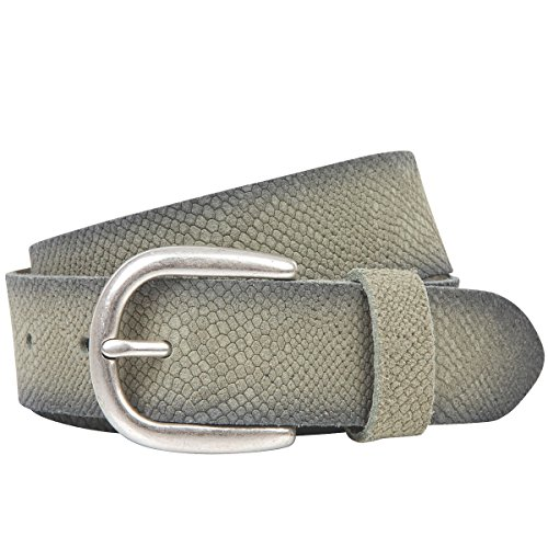 LINDENMANN The Art of Belt Ledergürtel Damen/Gürtel Damen, Rindledergürtel mit Python-Print, olive, Größe/Size:90, Farbe/Color:grün Python Print Belt