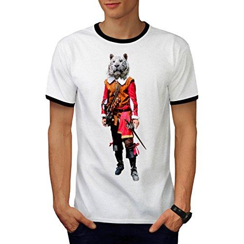 Tiger Ritter Cool Komisch Kostüm Katze Herren M Ringer T-shirt | (Katze Kostüm Emoji Herz)