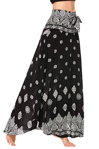 Meaneor Women Bohemian Style Self-Tie Belt High Waist Print Irregular Hem Long Skirt