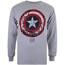 Marvel Ca Comic Shield, Camiseta de Manga Larga para Hombre