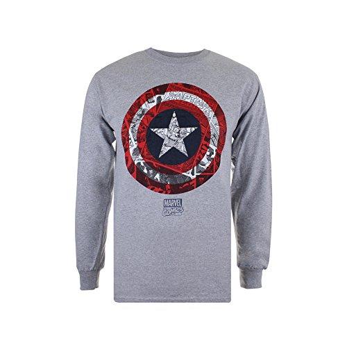 Marvel Ca Comic Shield, Camiseta de Manga Larga para Hombre, Gris (Sport Grey SPO), Small
