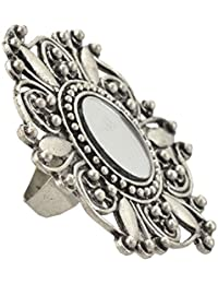 Zephyrr Jewellery Adjustable Round Ring with Carved Design Mirror