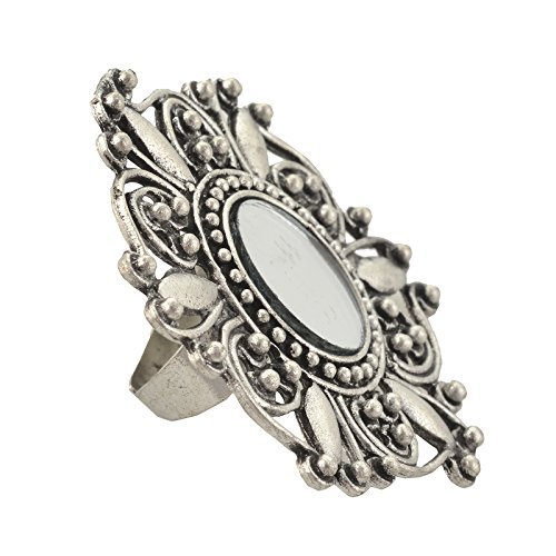 Zephyrr Silver Metal With Mirror Round Ring For Women