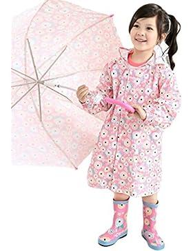 Mädchen Blumen Regenjacke Regenmantel - LOSORN ZPY Kinder Regenmantel mit Kapuze Wasserdicht Regen-Jacke