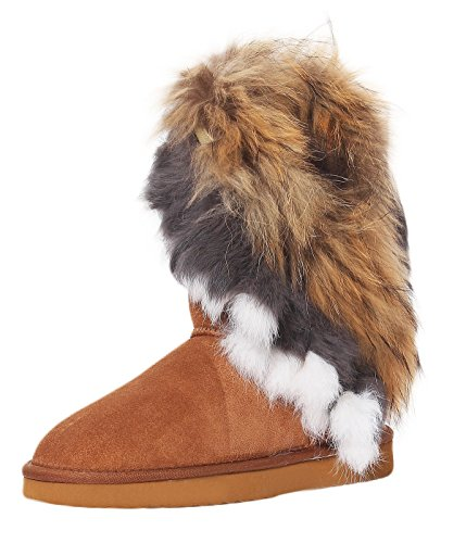 SKUTARI Damen Boots Fox Indian Schlupfstiefel Warm Gefüttert Wildleder-Stiefel, Camel, Größe 39 (Wildleder Stiefel Camel)