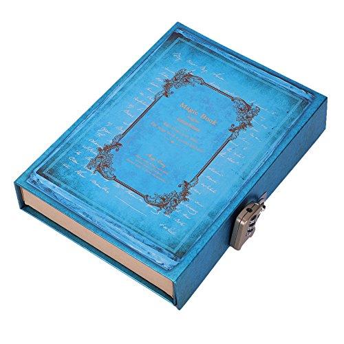 A5 Notizbuch mit Schloss, Passwort-Tagebuch, Box Tagebuch, Tagesplaner, Hardcover, Reisetagebuch, Skizzenbuch, Organizer, Block für Notizen, Schreiben, Zeichnen, 128 Blatt 21x14.5cm/8.27x5.71in blau (Tagebuch Zeichnen Schreiben Und)