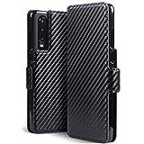 TERRAPIN Custodia Huawei P30, Cover di Pelle con Funzione di Appoggio Posteriore per Huawei P30 Cover Pelle, Colore: Nero Fibra di Carbonio Schema