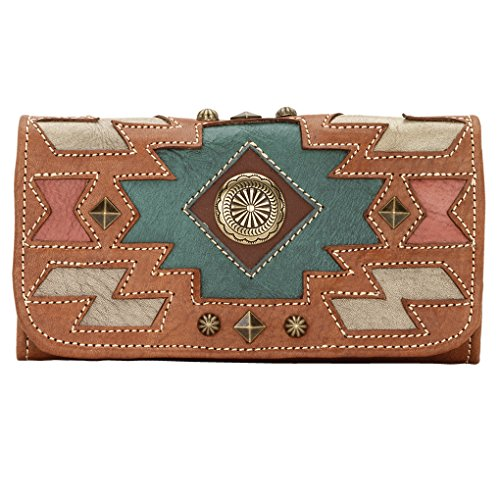 America nWest Ladies' Tri-Fold Wallet Golden Tan / Antique Brown