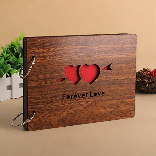 Veewon Jahrgang DIY Fotoalben Holz Voller Liebe Jahrestag Sammelalbum Scrapbooking 8 * 6 Zoll mit 2pcs Foto-Ecken-Aufkleber, große Geschenke für Jahrestag (Forever Love)