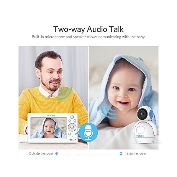 """HOMIEE 720P Wireless Video Baby Monitor with 5"""" HD LCD Digital Screen & Robot Appearance Camera, Two Way Audio, Sound & Temperature Alert, Low Battery Alarm, Night Vision with 1000ft Range (Blue) HOMIEE 【5"""" Large Rechargeable Color LCD Monitor】Equipped with super large 5 inch full color HD LCD screen with 1280 x 720 resolution, HOMIEE baby monitor offers the most vivid visual experience 【Upgraded Unique Robot Appearance Camera】Up to 4 cameras can be hooked up to the monitor for more babies. The robot can be wireless controlled to rotate about 360 degree horizontally, to bow and lie down between 105 degree at most. Additional camera can be purchased at ASIN: B07KGP29GM 【2.4GHz Wireless Connection Technology】No need to connect WIFI, needless of 3G/4G mobile data traffic, the 2.4GHz wireless technology provides 100% digital privacy and security, with range up to 1000ft in open space. Night vision is also supported 5"""