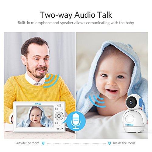 Video Babyphone,HOMIEE Babyphone 360 °Baby Kamera, 5 Zoll LCD Monitor und 300m 2,4G Wireless Verbindung, Wiederaufladbarer Monitor,Ton und Temperaturalarm, Nachtsicht, Wiegenlied und Zweiwege Audio - 5