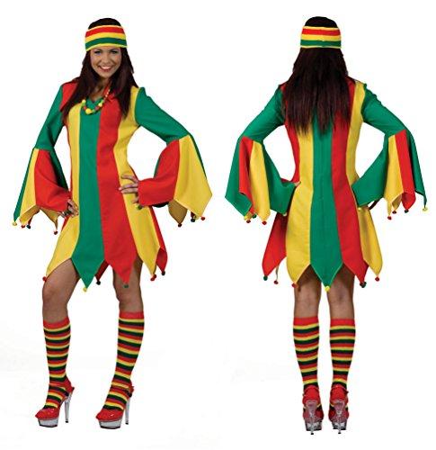 Karneval Klamotten Kostüm Kleid Narren Dame rot grün gelb Karneval Zirkus Damenkostüm Größe (Motto Zirkus Kleider)