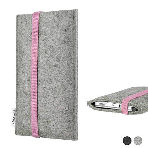 flat.design Handy Hülle Coimbra für Shift Shift6m handgefertigte Handytasche Filz Tasche Case rosa hellgrau