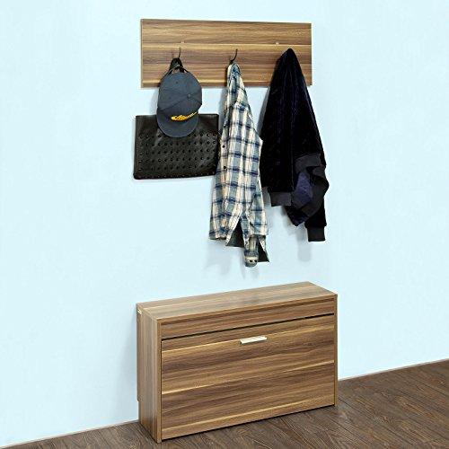 SoBuy® 2er Set, Garderoben-Set, Schuhbank, Schuhkipper ,Flurbank mit Wandgarderobe, FSR31-BR