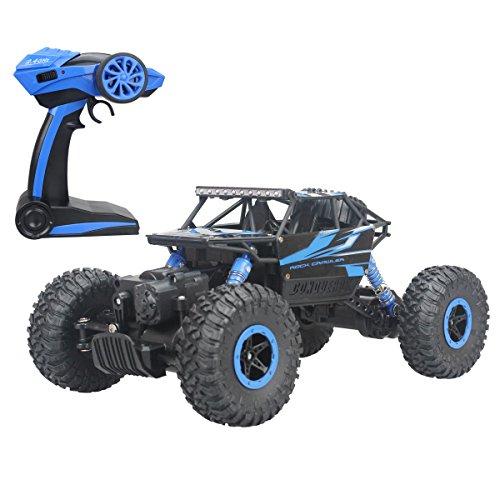 Hugine Hors Route RC Voiture Rock Crawler 1:18 Véhicule 4x4 Télécommande Course Voiture Tout Terrain Dune Buggy Télécommande Monstre Camion 2.4Ghz Rechargeable Voiture Électrique Jouet (Bleu)