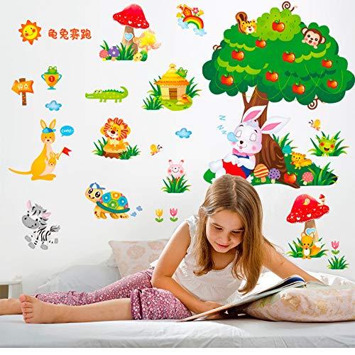 Meaosy Schildkröte Kaninchen Wettbewerb Geschichte Wandaufkleber Diy Tiere Aufkleber Für Kindergarten Baby Room Dekoration
