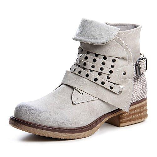 topschuhe24677Femme Biker Boots Bottines pour femme Gris - Gris