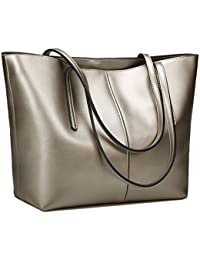 8e4ba220cfca S-ZONE Women's Soft Genuine Leather Tote Handle Shoulder Bag Fit 14 in  Laptop