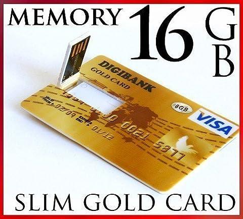 16gb USB 2.0 Ultra Slim GOLD Credit Card Style Flash Memory Stick Drive 16g High (Carta Usb)