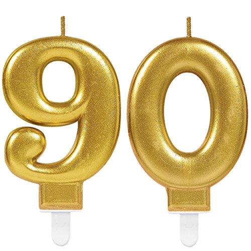 Carpeta 2X Zahlenkerzen * Zahl 90 * in Gold | 11cm x 9cm groß | 90. Deko Hochzeit Jubiläum Geburtstagskerze Kerze Geburtstag