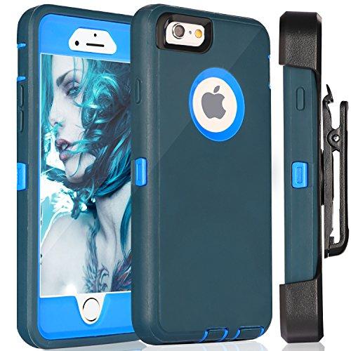 iPhone 6S Plus Fall & # xff1a; fogeek Premium Qualität 4Schicht integrierter Displayschutzfolie, staubdicht und stoßfest mit Gürtelclip Holster und ausklappbarem Ständer für iPhone 6Plus/iPhone 6S  dunkelgrün