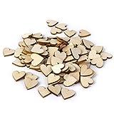 LEORX Holz-Scheiben Scheiben mit Herzform für DIY Handwerk Verschönerungen, 40mm, Packung zu 50 (Holz Farbe)