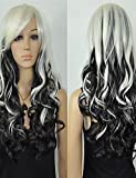 WIGSTYLE Perruques Fashion Fashion Women Halloween Hot Long Black White Mix Curly Resistant Fiber Wig