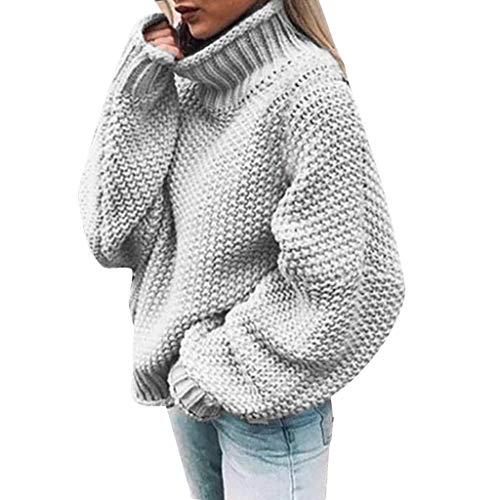 LEXUPE Damen Herbst Winter Übergangs Warm Bequem Slim Mantel Lässig Stilvoll Frauen Langarm Solid Sweatshirt Pullover Tops Bluse Shirt(Grau,XXX-Large)