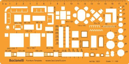 1: 50Arquitectura Escala Dibujo Plantilla Plantilla-Arquitecto Técnico redacción suministros-símbolos de muebles para...