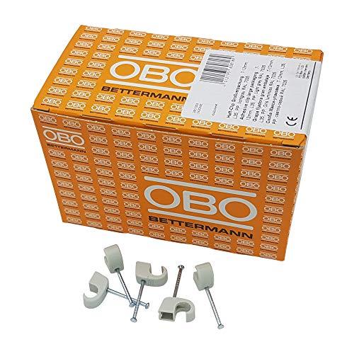 400er Set OBO Bettermann Nagelschelle für Kabel mit einem Durchmesser von 7-12 mm, mit einem 35 mm Nagel