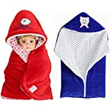 My NewBorn Velvet Baby Blanket Baby Wrapper Baby Sleeping Bag With Zipper-Combo Of 2 - Red And Blue