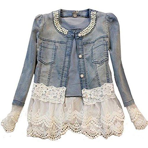 Daman Individuelle Perlen Spitze Nähen war dünn Jeansjacke Mantel Outwear Spitzenbolero Tops kurzshirt (L) (Perlen-leder-jacke)