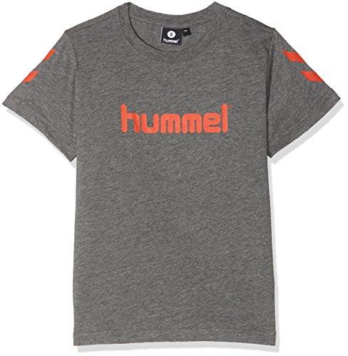 Hummel T-Shirt Jungen - JUNIOR V JAKI SS TEE AW17 - Trainingsshirt kurze Ärmel - Fitnessshirt Freizeit & Sport - Shirts 104-164 div. Farben Rundhals, Medium Melange, 152