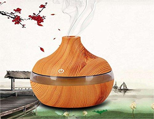 Brigamo ➲ 300ML humidificador Aroma difusor en Vetas de Madera Natural con 6Colores LED Iluminación como decoración salón ➲