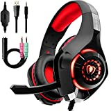 Gaming Headset für PS4 PC Xbox One, Beexcellent LED Licht Crystal Clarity Sound Professional Kopfhörer mit Mikrofon für Laptop Mac Handy Tablet (Rot)