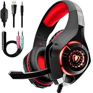 Beexcellent GM-1, Cuffie da gaming con microfono e Bass stereo, Cancellazione del rumore, Controllo del volume, Illuminazione a LED, Colore Rosso per PS4 PC XBOX
