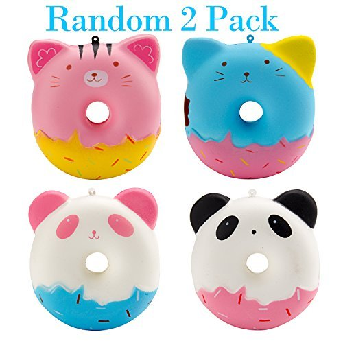 WATINC Random 2Pcs Cute Squishy, Kawaii Animal Donuts Cream Scented Slow Rising Squishy, Kid Toy, Lovely Toy,Stress Relief Toy,Decorations Toy Gift Fun (Animal Donuts)
