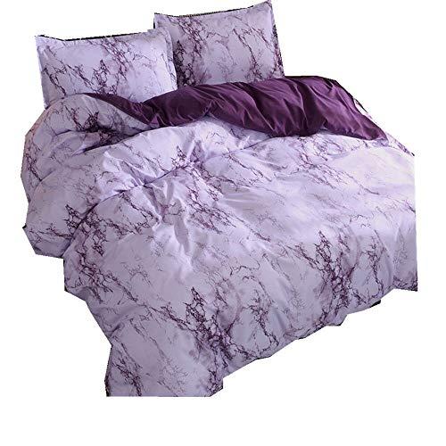 Bettwäsche-Set Graue Stein Ripple Bettbezug und Kissenbezug 100% Polyesterfaser Bettwäscheset Mit verdecktem Reißverschluss (Lila, 135x200cm) -
