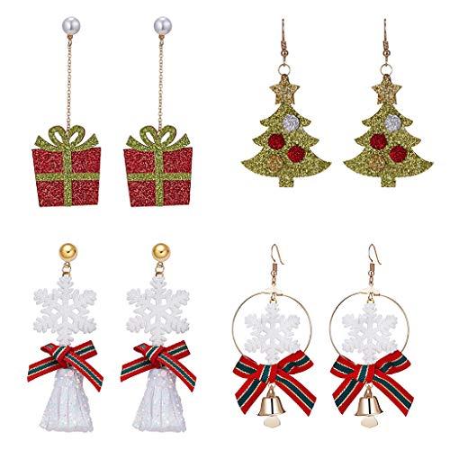 Tumao 4 Paar Schneeflocke Ohrringe Weihnachten Ohrringe Neujahrsgeschenk -