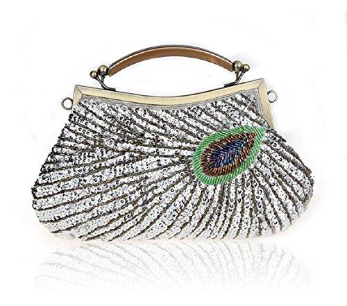 Modello di pavone mano bag/ Pochette di perline/ borsa da sera con paillettes/Package banchetto-A