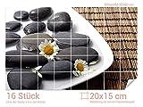 Graz Design 761187_20x15_60 Fliesenaufkleber Wellness-Steine/Kamillen-Blüten | Wand-Deko für Bad/Küchen-Fliesen (Fliesenmaß: 20x15cm (BxH)//Bild: 90x60cm (BxH))
