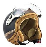 SOXON SP-325-URBAN Black · Vespa Pilot Casque Jet Retro Mofa Scooter Biker Moto Helmet Demi-Jet Bobber Chopper Cruiser Vintage · ECE certifiés · conception en cuir · visière inclus · y compris le sac de casque · Noir · M (57-58cm)