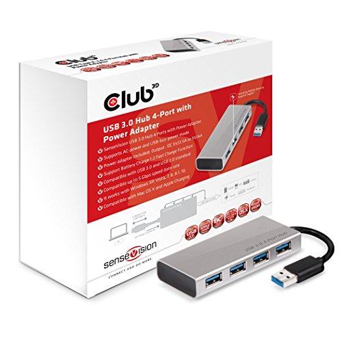 Club 3D CSV-1431 USB 3.0 Hub 4-Port mit Netzteil silber