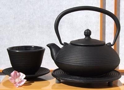 Gifts Of The Orient GOTO® Zen Ripple Théière, repose-théière et 1x tasse en fonte style japonais Noir 0,4 l