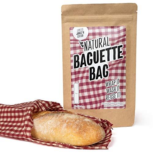 Natural Wrap Baguette Beutel XL - Wiederverwendbar Ersatz Für Plastiktüte Brotkasten Brotbeutel Besteht Aus Bienenwachstücher 15 x 73 cm Baguette-brot